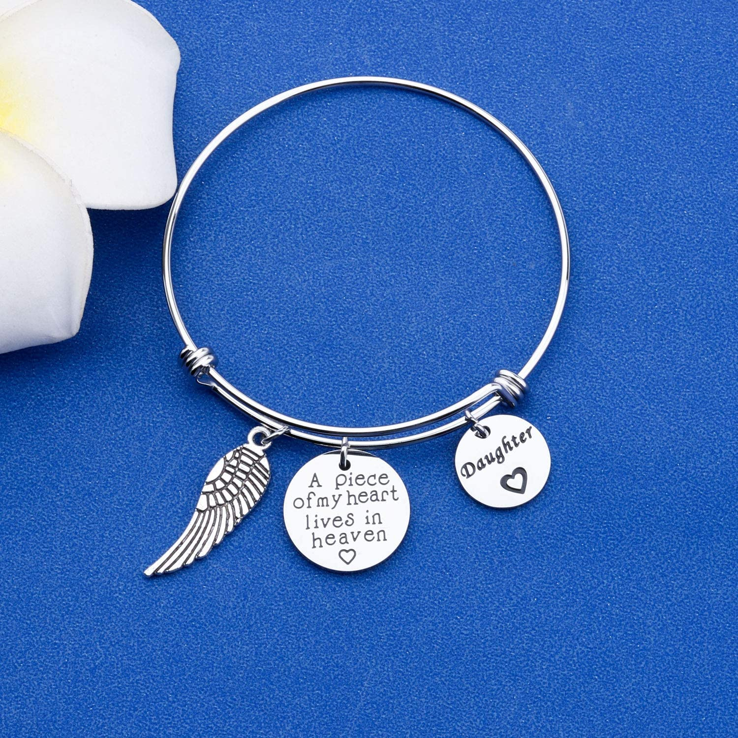 FAADBUK Memorial Jewelry Loss Gift A Piece of My Heart Lives in Heaven Bracelet in Memory of Loved Son Daughter Sympathy Gift