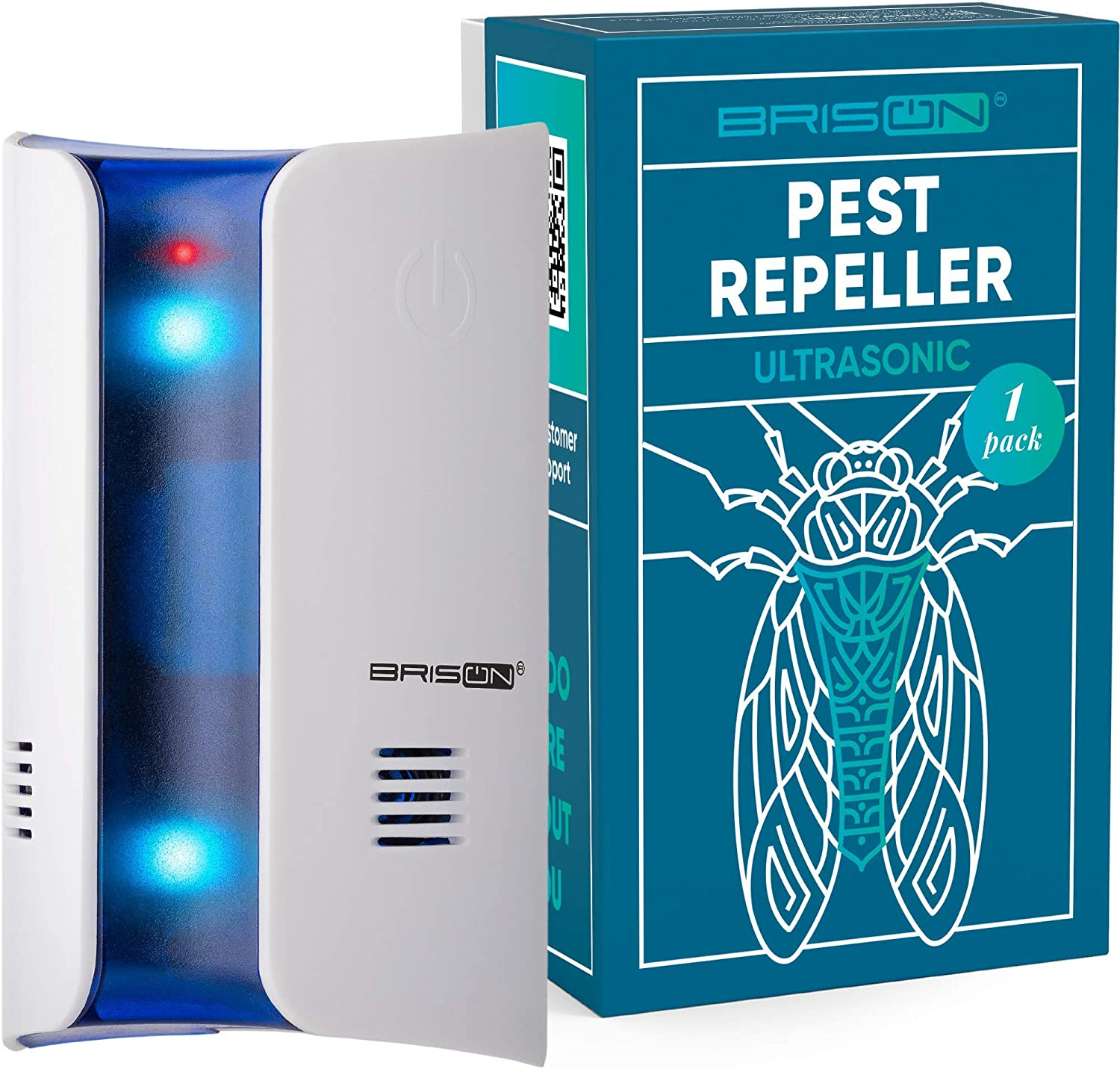 BRISON Ultrasonic Mosquito Repellent -Wall Plug-in Electromagnetic Pest Repeller Prevents & Drives Away Mice Rats Spiders Fruit Flies Fleas Roaches Ants Snakes Rodents - Eco-Friendly & Pet Safe