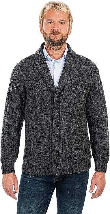 pescador irland/és tejido de cable cuello irland/és al aire libre para invierno con cremallera Su/éter de lana merino 100/% para hombre en color natural o azul marino
