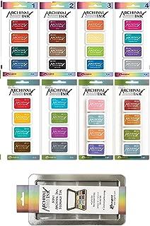 Ranger Bundle of Archival Ink Mini Pads - Sets 1-4 and Wendy Vecchi Sets 1-4 - 32 Inks Total - Includes Bonus Mini Ink Storage Tin