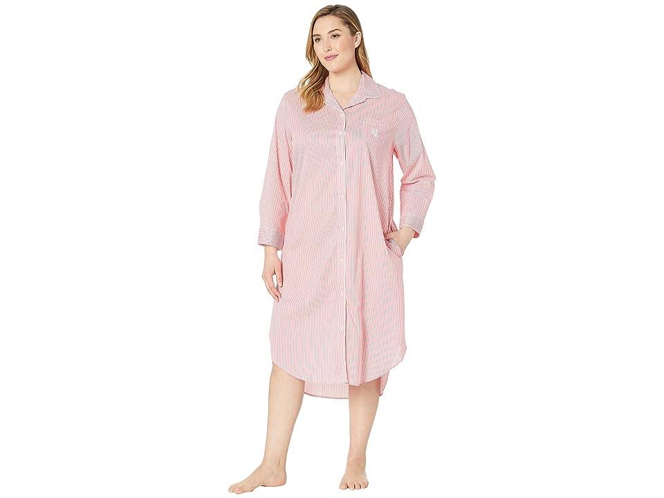 LAUREN Ralph Lauren Plus Size Long Sleeve Ballet Sleepshirt (Coral Stripe) Women