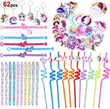 Konsait 62pack Unicorn Party Favors for Goodie Bags Magical Unicorn Party Supplies Gift for Birthday Party Unicorn Pens Keychains Swirly Straws and Stickers for Girls Kids