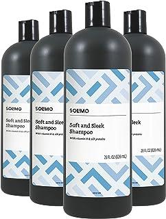 Amazon Brand - Solimo Soft & Sleek Shampoo, 28 Fluid Ounce (Pack of 4)