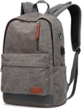 Canvas Laptop Backpack, Waterproof School Backpack With USB Charging College