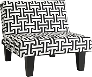 Kebo Ottoman, Black and White Geometric Pattern with Dark Legs, Minimalist Design, Sturdy Dark Legs, Premium Microfiber Upholstery (Chair)