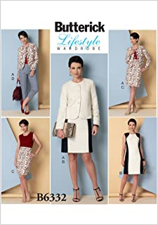 BUTTERICK PATTERNS B6332 Misses' Collarless Jacket, Dress, Skirt and Pants, Size F5 (16-18-20-22-24)