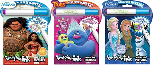 Bundle of 3 Imagine Ink Magic Pictures Activity Books - Moana, Trolls & Frozen