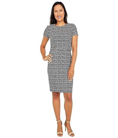 Calvin Klein Short Sleeve Printed Compression Dress with Belt (Black/Cream) Women