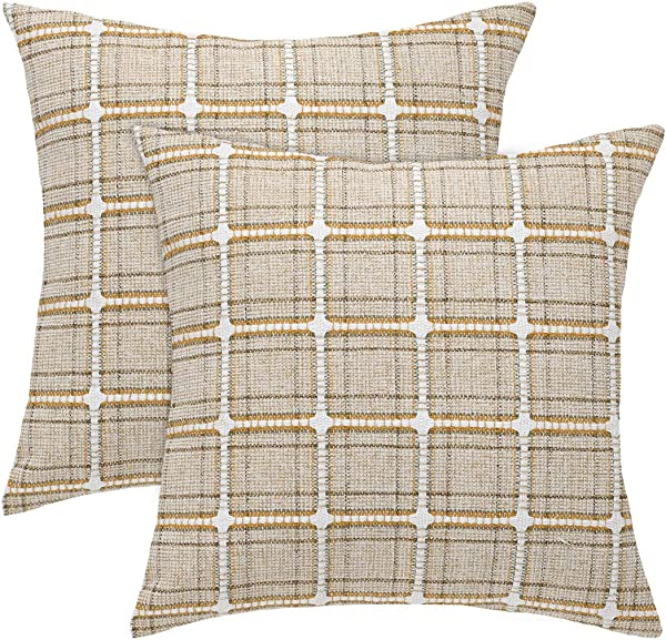 Uxcell Pack Of 2 Farmhouse Decor Buffalo Checkers Plaid Throw Pillow Covers Cushion Case For Sofa Couch Bed 18x18 Inches 45 X 45 Cm Beige