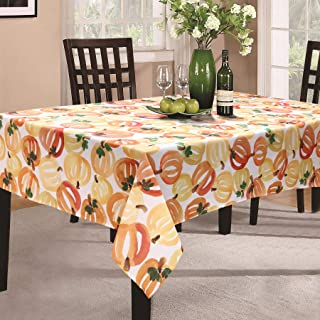 """CAIT CHAPMAN HOME COLLECTION Allover Pumpkins Easy-Care Printed Fabric Tablecloth 60"""" x 120"""" Rectangle"""