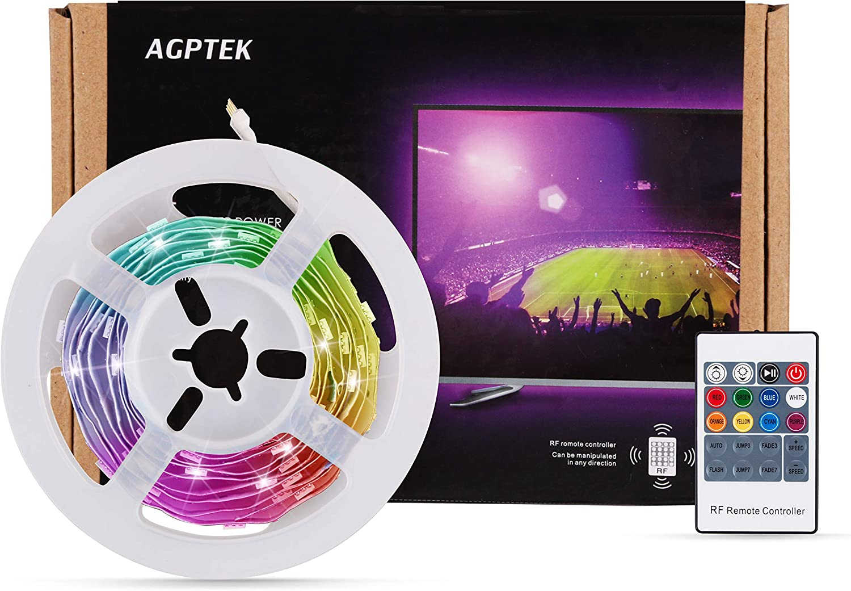 60 Leds Tira con 6 Modos 8 Colores AGPTEK Tiras LED 2M con Control Remoto Luz LED TV Gaming con Autoadhesiva 3M para TV//PC