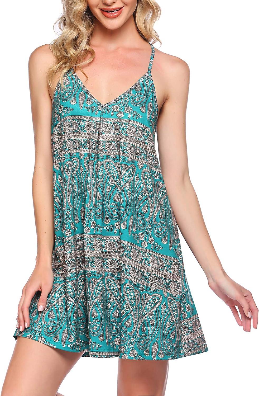 Coshow Women Nightgown Loose Sleepwear Soft V Neck Sleepdress Sleeveless Nightwear Short Chemise