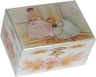 Splendid Music Box Co. Metallic Silver Ballerina Duet Warming Up Papier Musical Jewelry Box Plays Swan Lake