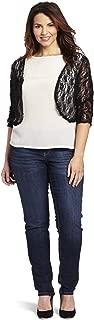Star Vixen Women's Plus-Size Lace Rouch Sleeve Topper Jacket