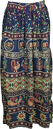 Womens Gypsy Fashion Maxi Skirt Animal Printed Flare Flirty Casual Summer Skirts S/M