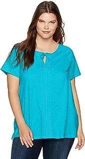Just My Size Womens OJ377 Plus-Size Split Neck Lace Front Top Short Sleeve Blouse
