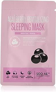 Soo'ae Acai Berry Revitalizing Sleeping Mask - 5 Pcs Antioxidant Acai Berry bilberry & Goji Berry vit a, C & E Coconut Oil Evening Primrose Oil Mushroom Aloe Relaxing Regenerate Soothe Calms Korea