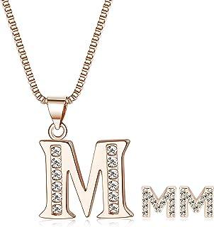 c3e0c29d3a5 Adramata Pendientes de Collar Inicial para Mujeres Niñas Alfabeto Letra A-Z  Colgante Collar Stud Pendientes Conjunto