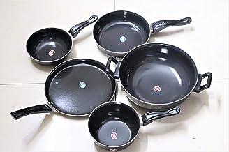 Sawan Shopping Mart Printed Kadahi kadai and Pan Set of 5 Pcs, Dosa tawa Non Stick (Ceramic Coated) Kitchenware Cooking Ut...