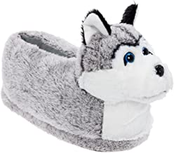 Silver Lilly Siberian Husky Slippers - Plush Dog Slippers w/Platform