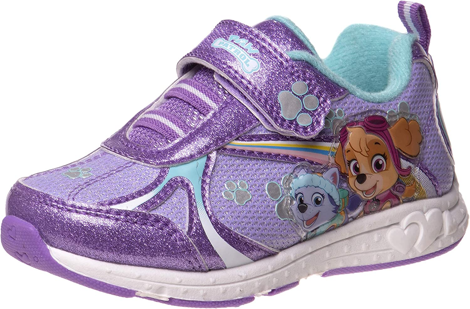 | Nickelodeon Girls' Paw Patrol Sneakers - Laceless LED Light Up Running Shoes (Toddler/Little Kid) | Sneakers