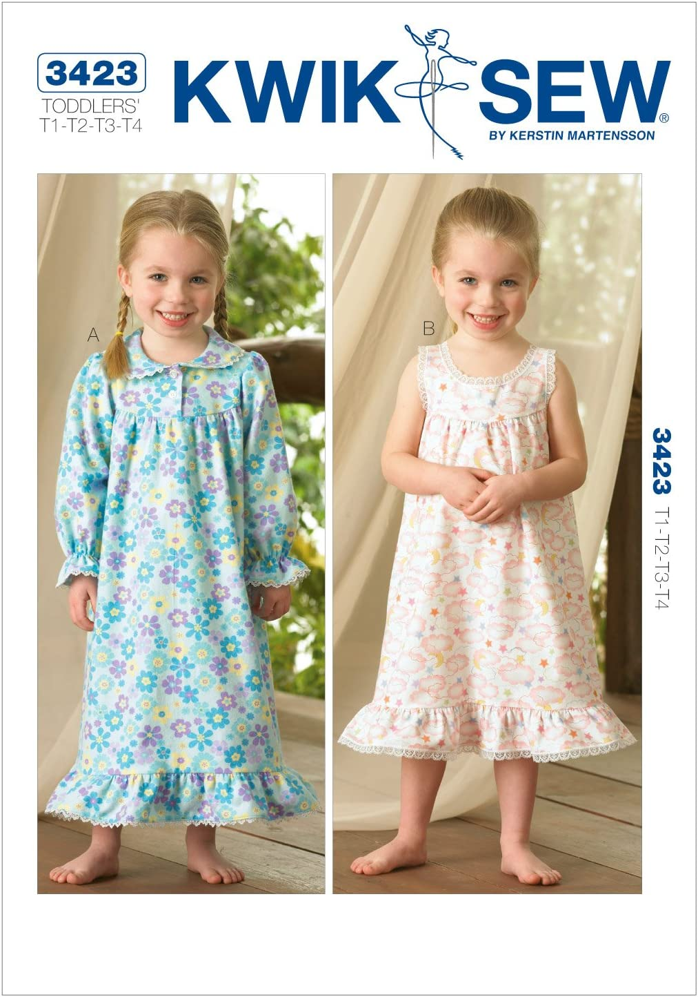 Kwik Sew Genuine Free Shipping K3423 Nightgowns Sale special price Sewing Pattern Size T1-T2-T3-T4
