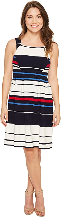 Petite Sleeveless Ottom Stripe Fit & Flare Dress