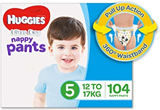 Huggies Ultra Dry Nappy Pants, Boys, Size 5 Walker (12-17kg), 104 Count, Packaging may vary