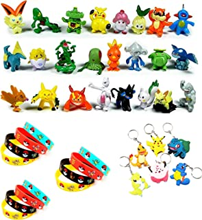 Funnyshow 42 pièces Ensemble de Jouets Pokemon, Pokémon Mini Figures Action Figurines Pokémon Bracelets Porte-clés Pokémon, pour Enfants et Adultes Party Celebration