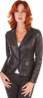 D'Arienzo Blazer in Pelle Donna Nero Made in Italy Giacca 2 Bottoni FZ