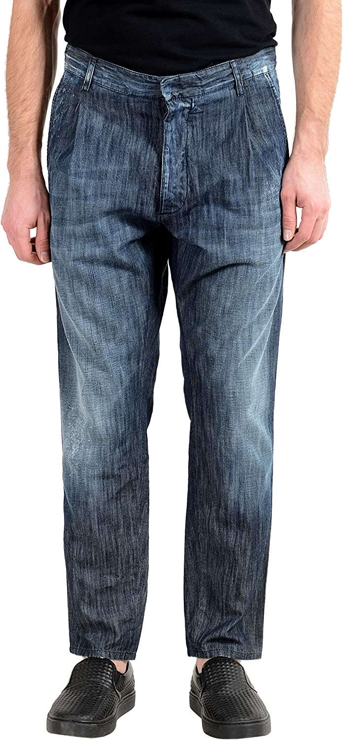 DSQUARED2 Men's Distressed Blue Pleated Casual Pants US 32 IT 48