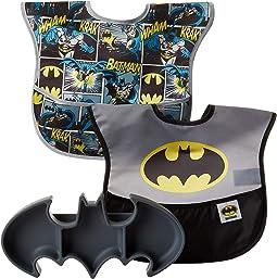 DC Comics Batman Silicone Grip Dish w/ Bib 2-Pack