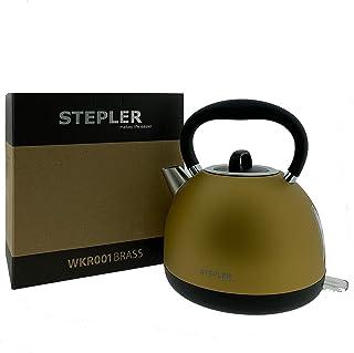 Reinigungssieger STEPLER Wasserkocher Retro-Design 1,7 Liter WKR001 | Teekessel | Flötenkessel | Teekocher | Überhitzungsschutz | Automatische Abschaltung | 360° drehbar | Rostfreier Edelstahl BRASS