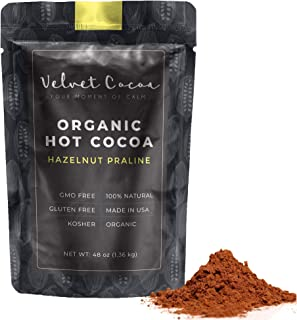 Hot Chocolate Mix Gourmet Powder | Premium Hot Cocoa 3lb Bulk Value Pack. Hazelnut Praline Flavor. Delicious Taste, Organic Gluten-Free Natural Ingredients Kosher No Trans-Fat Vegan. Top Quality Coco