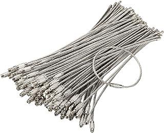 bayite Pack (100) کابل Keychains از جنس استیل ضد زنگ ، حلقه های کلیدی ، چمدان های سنگین برچسب ها برچسب های حلقه نگهدارنده برچسب 2 میلی متر سیم پیچ (طول کابل: 6 اینچ)