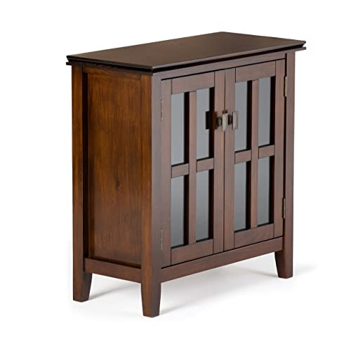Simpli Home AXCHOL015 Artisan Solid Wood 30 Inch Wide Contemporary Low  Storage Cabinet In Medium Auburn