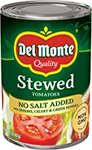 Del Monte No Salt Added Stewed Tomatoes with Onions, Celery & Green Peppers, 14.5 Ounce (Pack of 12)