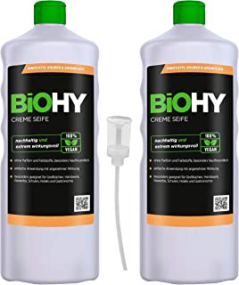 BiOHY Crema de Jabon (2 botellas de 1 litro) + Dosificador | Suave, hidratante e inodoro jabón de manos del sector vegetal | LIBRE DE FOSFATOS Sin perfume ni colorantes (Creme-Seife)