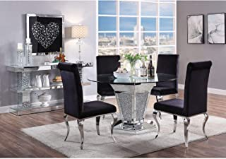 Acme Noralie Dining Table in Mirrored Faux Diamonds and Clear Glass