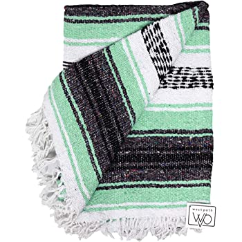 Open Road Goods Mexican Blanket - Mint Teal & Grey Mexican Falsa Beach Blanket - Mexican Yoga Blanket, Picnic Blanket, or Home Throw. Handwoven