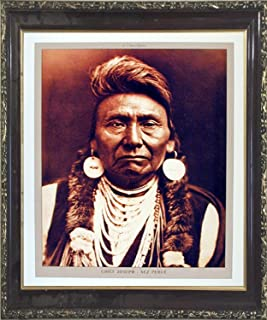 Framed Wall Decoration Native American Poster - Chief Joseph Nez Perce Mahogany Picture Art Print (20x24)