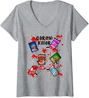 Womens Cereal Killer Funny Easy Lazy Last Minute Halloween Costume V-Neck T-Shirt