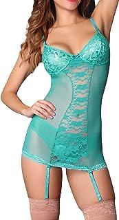 Panty Luk Estilo 870 Baby Doll Color Jade Mujer Sexy Lenceria con Liguero Tipo Neglille Romantico y Sensual