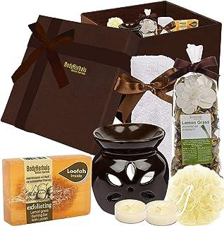 BodyHerbals Lemongrass Soap Spa Set – Relaxing Bath & Body Care Kit (Lemongrass Bathing Bar 100gms, Face Terry Towel, Arom...