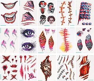 Beaupretty 15 Spcs Halloween Gezicht Sticker Halloween Fake Litteken Decal Tijdelijke Tatoeages Valse Wond Tatoeages Voor ...