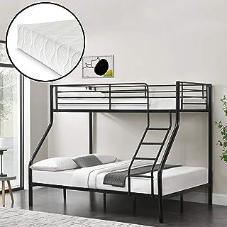 Neu.Haus Litera de Metal con colchones de Espuma fría 210 x 147,5 x 168 cm con reja Protectora Metal Poliéster Negro
