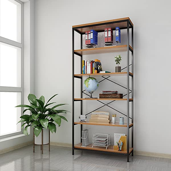 Creine 6 Tier Vintage Industrial Bookcase Wooden And Metal Bookshelf For Home And Office 31 6 X 11 8 X 70 9inch