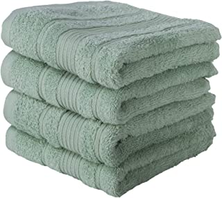 Qute Home Hand Towels - 4 Pack, (16 x 30 inches) | 100% Turkish Cotton | Super Soft Highly Absorbent | Spa & Hotel Quality Towels (Green)