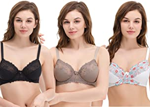 Curve Muse Plus Size Minimizer Underwire Unlined Bras with Embroidery Lace-3Pack