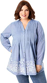 Women's Plus Size Embroidered Chambray Tunic